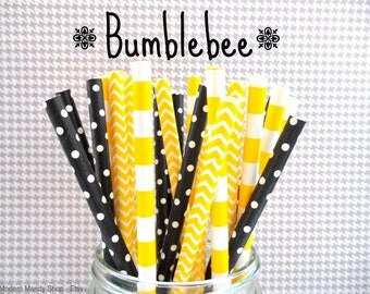 Black & Yellow Paper Straws (Bumblebee - Pack of 25 or 50) **Weddings, Parties, Showers, Gifts** Black and Yellow Bumblebee Party