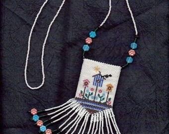 Birdhouse Beaded Amulet Bag