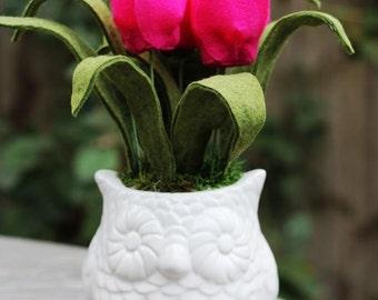Felt Tulips in an Owl Vase