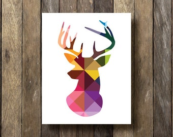 Geometric Stag Print - Instant Download Printable - Geometric Art - Colorful Wall Decor - Deer Head Silhouette - Tribal Decor - Stag Print