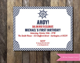PRINTABLE Nautical Birthday Invitation - 1st Birthday Invitation - Boys Girls Birthday Party 4x6 or 5x7