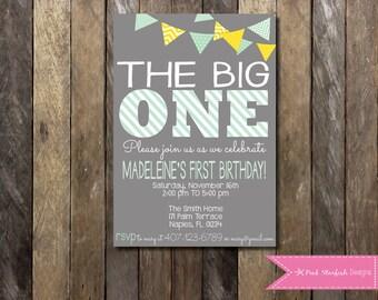 First Birthday Invitation, 1st Birthday Invitation, Birthday Invitation, Printable Invitation, The Big One, Pink, Green, Stripe, Chalkboard