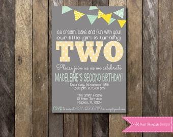 PRINTABLE  Second Birthday Invitation - 2nd Birthday Invitation Fully Customizable -  Girls Boys Birthday Party 4x6 or 5x7