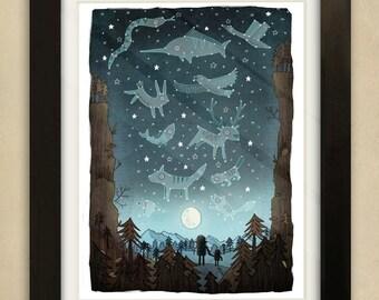 Star Constellations Illustration - Children's Art Print