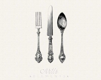Antique Silverware - Knife, Fork, Spoon Cutlery- Printable Vintage Digital ClipArt Separate PNG Files