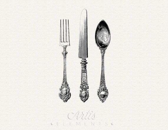 Messer und gabel clipart  Antikes Besteck Messer Gabel Löffel Besteck die