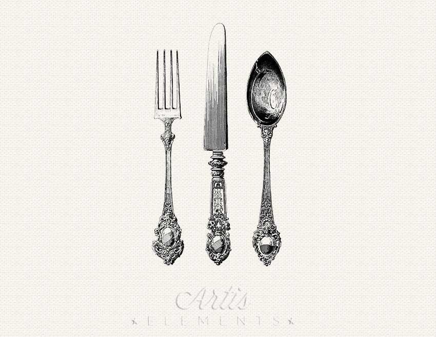 Vintage Knife Drawing Antique Silverware Knife