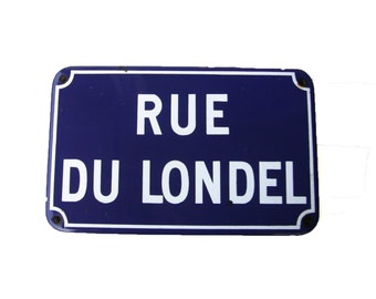 "FRENCH VINTAGE 1960's , Blue Enameled Metal French Street Sign "" Rue du Londel "" , Very Heavy , from Caen in France , Loft , Industrial"