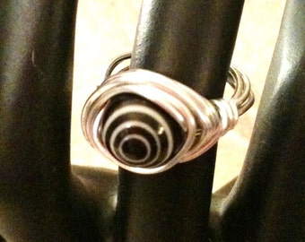 Silver Plated Wire Wrapped Black Eye Dot Ring