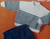Baby Boys Sweater & Pants, A4 PDF Reformatted Vintage Knitting Pattern 3155  Digital Download, A4 PDF.