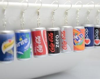 Soda can earrings (many flavours), soft drink can silver earrings, dangle earrings