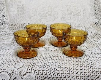 Whitehall Amber Dessert Dishes ~ Set of 4 ~ Whitehall Cube Glasses ~ Amber Glasses ~ Indiana Glass ~ Retro Glassware ~Holidays