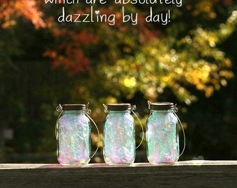 Garden Lantern - Mason Jar Solar Lights - Fairy Jars, fully assembled with fitted handles to hang them from.