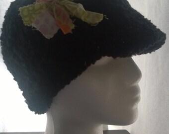 Black crochet brimmed hat