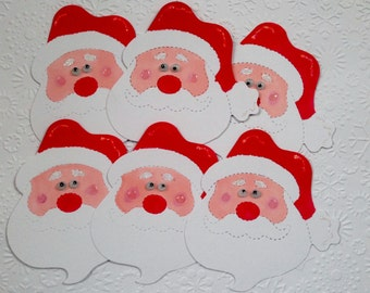 6 handmade Santa face/head Christmas Card toppers for cardmaking*crafting*scrapbooking