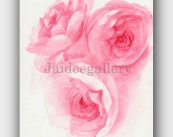Original watercolor art 6x8 in, Watercolor flower art, Floral rose painting,Art painting on paper.