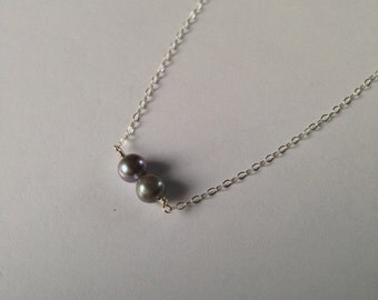 Freshwater Pearl Silver Necklace : sterling silver necklace