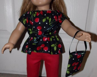 """New Handmade Black and Red Cherry Outfit with Headband and Purse Fits 18"""" American Girl Dolls"""