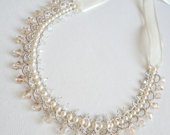 Wedding necklace, Pearls necklace, Beadwork necklace, Beadwaving necklace, Swarovski cristals necklace, One of kind necklace