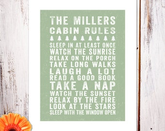 "Personalized Wall Art ""Cabin Rules"" Art Print"