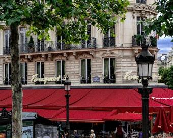 Paris Cafe, Paris Photography, Paris Photo, Red Cafe, Quintessential, Paris Red Cafe, Paris Decor, Red Kitchen, Kitchen Decor