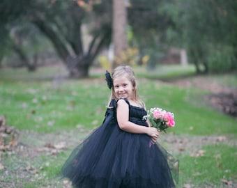 Black Flower Girl Dress, Black Tutu Dress, Black Dress, Flower Girl Dress, Weddings, Black Weddings