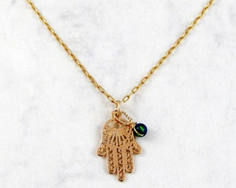 Hamsa necklace with a small Atlantic Opal - Protection and love