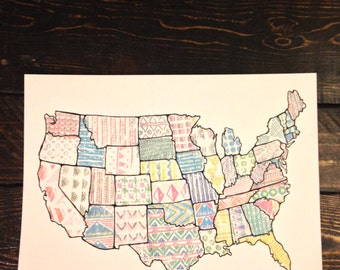 Patchwork United States of America Art