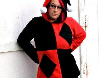 Harley Quinn  costume Cosplay fleece hoodie Halloween w pockets