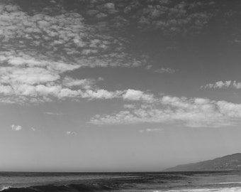8x10 Photography Print Clouds Ocean Beach Sky Clear Black and White Waves Water Sea Pacific Sand Salt Nautical Landscape Peaceful Calm