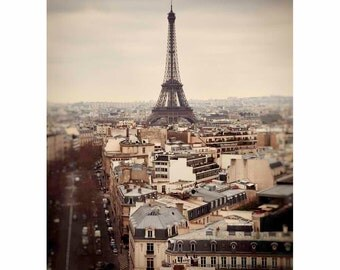 Paris Photography, Eiffel Tower, France, Vintage, Gray, Brown, Beige, Home Decor, Wall Art - Purely Paris (Vertical-see full image)