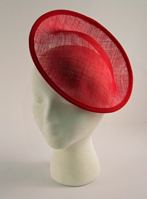 Red Bases For Living Room Decor: Red Large Saucer Sinamay Fascinator Hat Base For By