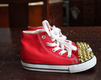 Studded Converse Red High Tops