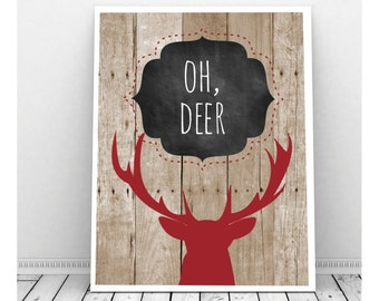 Oh Deer Art, Deer Silhouette Print, Deer Antler Decor, Digital Print, Cabin Decor, Deer Silhouette Art, Deer Silhouette, Rustic Decor
