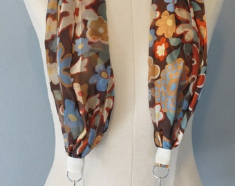 Brown floral scarf Camera Strap