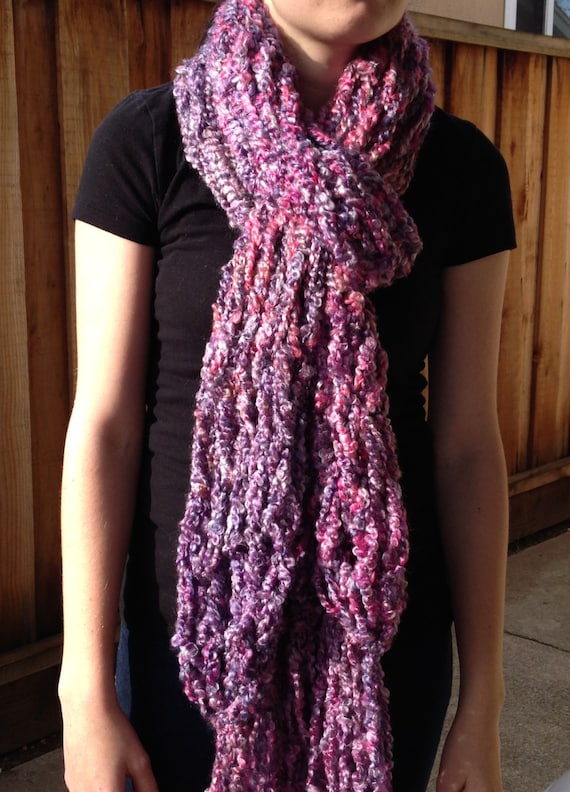 Long Fringe Scarf, Open End Scarf, Fringe Scarf, Pink and Purple Scarf,