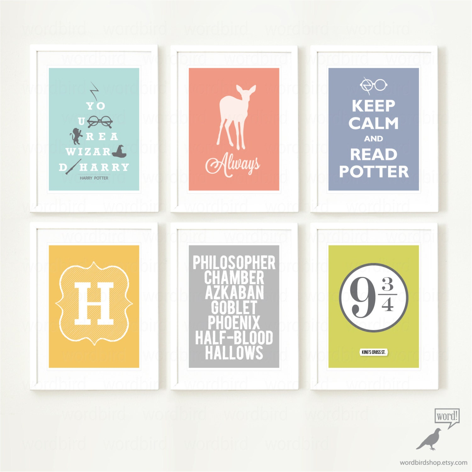 Harry potter 6 print poster collection teen bedroom wall - Teenage wall art ideas ...