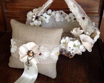 The Rustic Linen Flower Girl and Ring Bearer Set