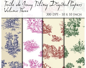 10 Seamless Toile De Jouy Digital Papers. 300 DPI. 10 Inch