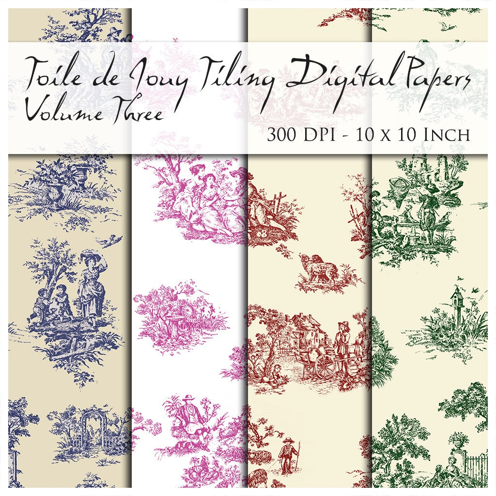 10 seamless toile de jouy digital papers 300 dpi 10 inch - Papel pintado toile de jouy ...