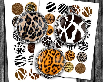 Animal Print Bottle cap images 25mm 1 inch 35mm 30mm 1.5 inch Printable Images  - Digital Collage Sheet Instant Download