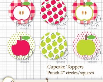 """Printable DIY Red and Green Apple Cupcake Toppers 2"""" Circles / Square - Instant Download"""
