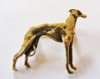 1990's Vintage Standing Greyhound Brooch, Gold Plated