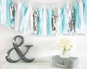 Aqua & Silver tassel garland party decoration // wedding decor // photo backdrop