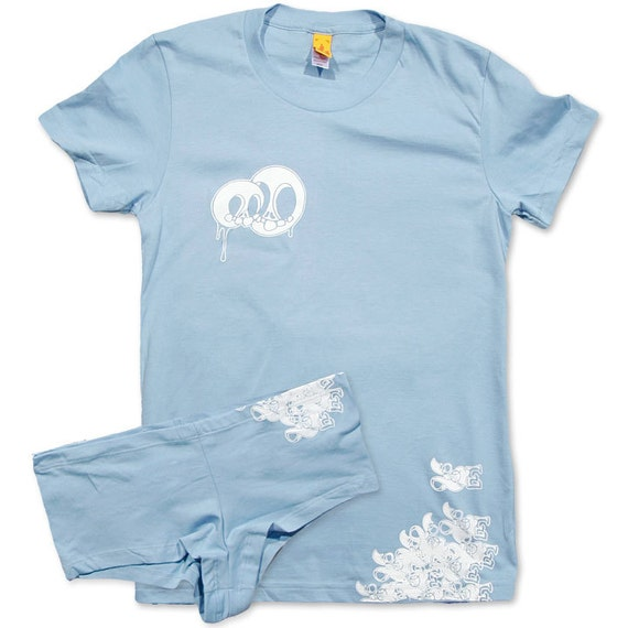 Loving skulls baby blue t shirt and panties set on sale for T shirt and panties
