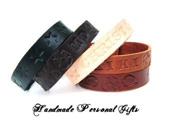 Leather bracelet, name, text