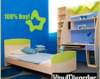 100% Boy! - Vinyl Wall Decal - Wall Quotes  - Vinyl Sticker - Boysbedroom08ET