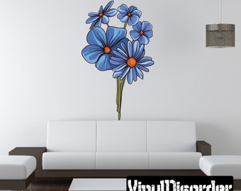 Floral Flower Wall Decal - Wall Fabric - Vinyl Decal - Removable and Reusable - FloralFlowerUScolor119ET
