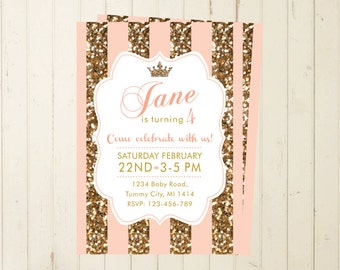 glitter invitation first birthday  girl gold pink invitation shabby invitation one year party 3rd birthday 4th birthday 2nd birthday 5th 119