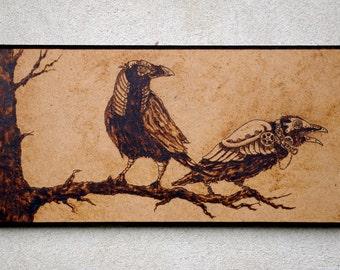 Steampunk Ravens pyrography art